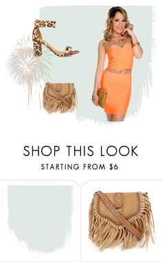 """""""Orange you glad I made it!"""" by amiclubwear ❤ liked on Polyvore featuring fringe, inspo, leopard, Trendy and twopiece"""