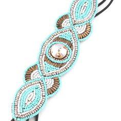 Jeweled turquoise and gold bead elastic headband
