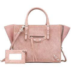 Balenciaga Baby Daim Mini Papier A4 Zip Around ($1,545) ❤ liked on Polyvore featuring bags, handbags, shoulder bags, balenciaga, bags & totes, väskor, bois de rose, leather tote handbags, pink tote and leather handbags