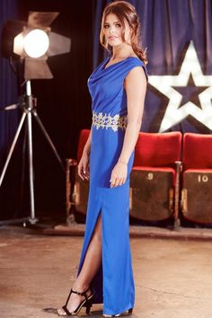 Blue Gold Lace Trim Maxi Dress