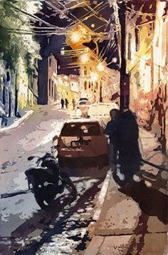 Valparaiso Street at Night by Mark McDermott Watercolor ~ 22 x 15 Urban Landscape, Landscape Art, Watercolor Architecture, Street Painting, Environment Design, Watercolor Paintings, Watercolour, Contemporary Paintings, Impressionist