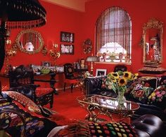 fashion designer, Anna Sui's New York loft, .filled with gilt-metal furnishings, Polish majolica, pillows and other treasures found in flea markets and antiques shops Gold Interior, Interior And Exterior, Interior Design, Architectural Digest, New York Loft, Red Rooms, Chula, Anna Sui, Red Interiors