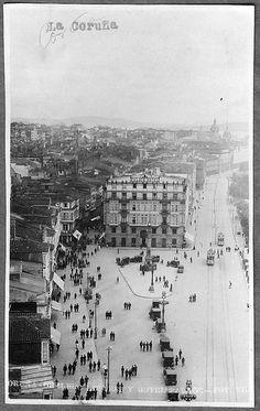 La Coruña - Obelisco Linares y Hotel Palace.1900-1915 foto: Villar