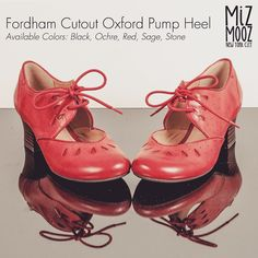 """Miz Mooz Fordham Cutout Oxford Women's Pump Heel - Available Colors: Black Ochre Red Sage Stone -  featuring a soft burnished leather upper in rich colors with cute teardrop cutouts at the toe a lace up front for best fit cushioned footbed and chunky 1.75"""" heel. #mondaystyle #Mizmooz #stylecrush #oxfords #chunkyheels#ootd #vintagestyle #vintagefashion #retro"""