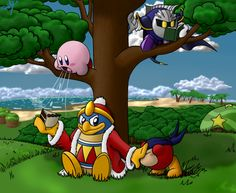 Friends by frostystar.deviantart.com on @DeviantArt. No cake for Bandana Dee, King Dedede is too occupied that Kirby is going to eat it, and Meta Knight is ignoring and engrossed in his book.
