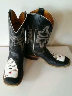 Tin Haul Boots Cards Poker Black Las Vegas Men's Cowboy Size 9 5 Excellent Cond | eBay Tin Haul Boots, Boho Rock, Grunge Goth, Riding Clothes, Cowgirl Boots, Poker, Las Vegas, My Style, Cards