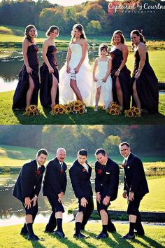 Funny wedding party photo ideas with bridesmaids and groomsmen