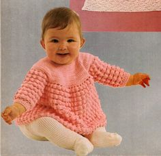 Vintage crochet pattern for the cute yoked baby top shown in the photo. From a 1970s Woocrest booklet. Instructions for 18 to 20 inch chest.  Materials: Red Heart Baby Sayelle 3.5 mm and 3 mm crochet hooks 3 buttons  Tension 12 sts and 7 rows = 2 inches square measured over dcs on 3 mm hook  Additional information including sizing is provided in the last photo.  All of the PDF patterns in my shop are generated from my personal collection of vintage knit and crochet patterns from the 1950s…
