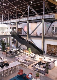 A Tour of Gusto's Cool New San Francisco Office – Officelovin & # - industrial office interior Warehouse Office Space, Warehouse Design, Cool Office Space, Office Space Design, Modern Office Design, Office Furniture Design, Workplace Design, Office Workspace, Warehouse Layout