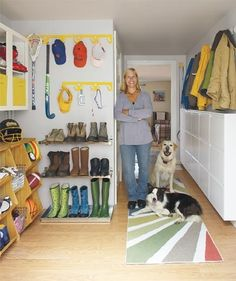 organized mudrooms. I like the Ikea shelf idea for tall boots, they never seem to fit on the shoe racks.