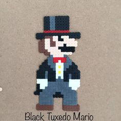 Some 8-bit versions of costumes, as seen in Super Mario Odyssey for Nintendo Switch. Made with Artkal fusebeads/perlerbeads. Buy all three and get the extra shipping cost for free! Worldwide shipping. My perler account on Instagram: amea_pixelart