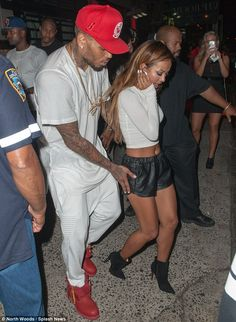 Watch your step! Chris was seen assisting Karrueche as they went to VIP Room in NYC Wednes...