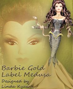 Check out this gorgeous Barbie doll as Medusa wearing a green corset and chiffon fishtail skirt with auburn curls that intertwine  her golden snake arm cuffs. What's the most special Barbie in your collection? Find out her value with our Barbie Price Guide, http://quote.brianstoys.com/lines/Barbie/toys.