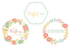 Floral Vector Wreaths by Cocoa Mint on Creative Market