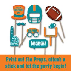 Miami Dolphins Football Photo Booth Props and Party Decorations  PLEASE NOTE: This is a digital product, NO physical product will be sent. ********************************************************************************* Welcome to OldMarket Corner!  ★★ Looking for a different color or team? Want props for your High School, College or Team? Check out this listing to get your own customized Photo Booth Prop Set…