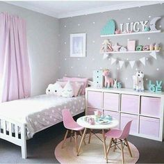 Love the pink & grey & storage!