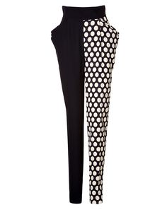 A sartorial choice for dressing up or down, these patchwork pants from Emanuel Ungaro feature bold polka dot patterning and a modern fluid-like drape #Stylebop