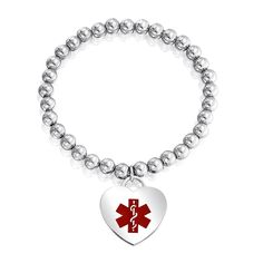 Bling Jewelry Steel 6mm Bead Medical Alert Heart ID Stretch Bracelet >>> Want to know more, click on the image. (This is an affiliate link) #HandmadePearlEarrings