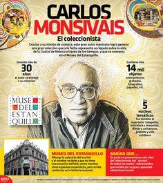 Gracias a su misión de cronista, este gran autor mexicano logró generar una gran colección que a la fecha representa un legado sobre la vida de la Ciudad de México a través de los tiempos, y que se conserva en el Museo del Estanquillo Colecciones Carlos Monsiváis. #Infographic