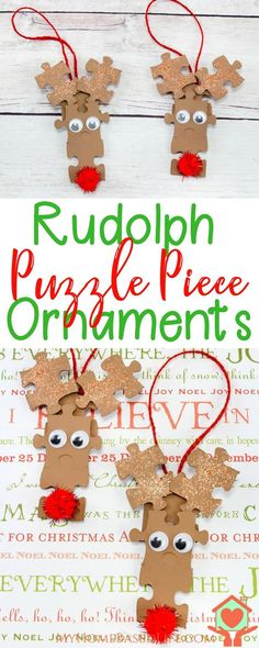 Rudolph Puzzle Piece Ornaments | Christmas Ornament DIY | Reindeer Craft | Puzzle Piece Craft | Kid's Christmas Craft | Easy Christmas DIY | #diychristmas #diychristmasornament via @myhomebasedlife