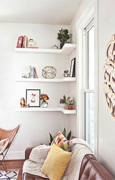 Les étagères d'angle en 41 photos, pleines des idées!
