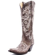 This ladies brown cowgirl boot with white lace stitching from Corral is stunning! Free shipping is available!