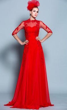 RosIlona: Robe de mariée rouge fluide à manches. More