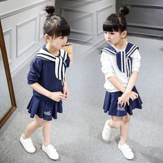 High Quality Fashion Girls Clothing Set Sailor Pattern Hoody+ TuTu Skirt 2pcs Spring Summer Baby Girls Clothes 2016 new #Affiliate