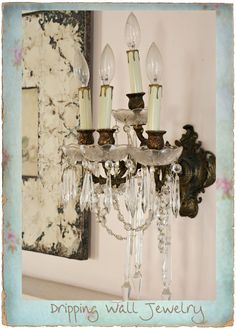 Crystal wall sconce.