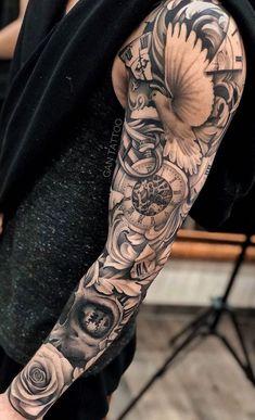 Rose Tattoos For Men, Half Sleeve Tattoos For Guys, Forearm Sleeve Tattoos, Hand Tattoos For Guys, Best Sleeve Tattoos, Baby Tattoos, Leg Tattoos, Forarm Tattoos, Body Art Tattoos