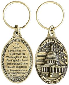 KRDC15A Key Ring Antique Brass DC Capitol