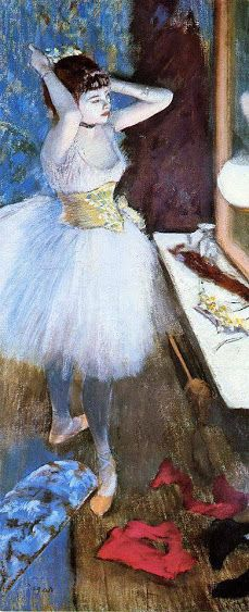 """""""Dancer in her dressing room"""" (c 1879) By Edgar Degas, from Paris (1834 - 1917) pastel and peinture à l'essence on canvas; 87.9 x 37.7 cm; 34 5/8 x 15 7/8 in © Cincinnati Art Museum, Ohio, US Bequest of Mary Hanna, 1956"""