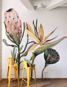 Mural Floral, Flower Mural, Floral Wall, Wall Painting Decor, Mural Wall Art, Wall Painting Flowers, Wall Design, Design Art, Wall Drawing