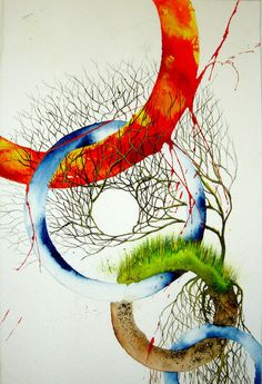 The Elements of Earth, Wind, Fire, & Water. I love the circle within the tree branched Element Tattoo, Earth Wind & Fire, Gcse Art, Traditional Paintings, To Infinity And Beyond, Wiccan, In This World, Fantasy Art, Cool Art