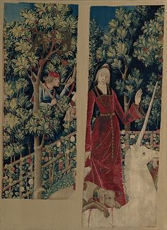 """""""The Mystic Capture of the Unicorn,"""" The Unicorn Tapestries, late Medieval Period, 1495-1505. Part VI of VII. The Unicorn, seemingly sprung back to life (and horn regrown), is tamed by a maiden and helped heal by a dog."""