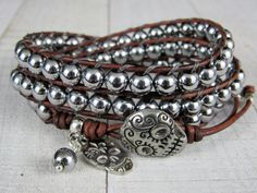 Sugar Skull Silver Wrap Leather Bracelet for Women or Men - Silver Bracelet - Day of the Dead Bracelet by NimbleKnots Studio