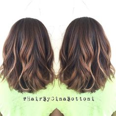 Subtle, dimensional balayage and rounded lob. @gina_bott #HairByGinaBottoni: