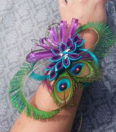 Kanzashi Flower Peacock Feather Corsage - $25.00 - Handmade Accessories, Crafts and Unique Gifts by Secret Gems