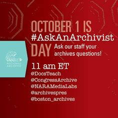 Olive Tree Genealogy Blog: October 1st is Ask an Archivist Day