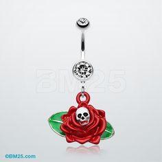Vibrant Skull Rose Belly Ring