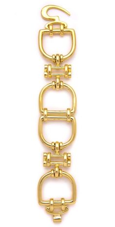 Classique D Ring Bracelet - gold-plated bracelet features oversized D-ring details and a hook-and-eye clasp -- Dana Lorenz's Fallon Jewelry