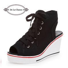 $37.85 (Buy here: https://alitems.com/g/1e8d114494ebda23ff8b16525dc3e8/?i=5&ulp=https%3A%2F%2Fwww.aliexpress.com%2Fitem%2FNew-2015-Fashion-Women-Lace-Up-Open-Toe-Wedge-Platform-Shoes-For-Women-Shoes-Woman-Wedge%2F32512778961.html ) New 2016 Fashion Women Lace Up Open Toe Wedge Platform Shoes For Women Shoes Woman Wedge Sandals Zapatos Mujer Black White for just $37.85