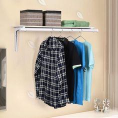 Costway Wall Mount Folding Storage Shelf Utility Rack Holder Home Organizer Hanger