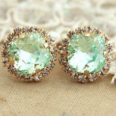 Mint Stud Earrings,Mint Earrings,Swarovski Mint Studs,Bridal Mint Earrings,Bridesmaids Earring,Bridesmaids Gift,Gift For Her,Pave Earrings