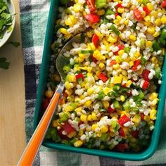 Barley Corn Salad Recipe -A great alternative to pasta salads, this colorful side dish adds refreshing herb flavor to corn, barley, and red and green peppers. Bring it to your next get-together and see how fast it disappears!   —Mary Ann Kieffer of Lawrence, Kansas