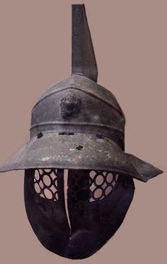 Ancient Gladiator helmet in the British Museum, 1st century AD