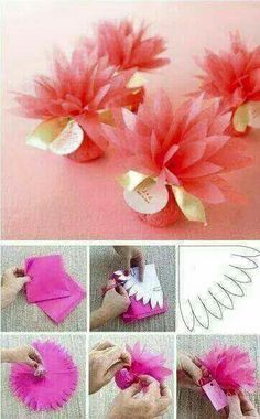 This would be super sweet to use for party favors at Nevaeh's birthday - Wedding Favors Flower Crafts, Diy Flowers, Diy Party, Party Favors, Wedding Favors, Wedding Gift Wrapping, Favours, Diy And Crafts, Paper Crafts