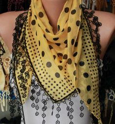 Mustard  Scarf   Cotton Scarf Headband Necklace Cowl by fatwoman, $15.00