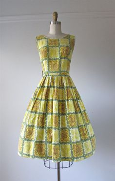 vintage late 1950s/early 1960s cotton day dress yellow, green, brown and white abstract print rickrack around neckline and armholes big full skirt,