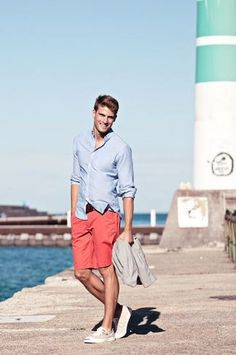 Men's Light Blue Dress Shirt, Red Shorts, Grey Plimsolls, Dark Brown Leather Belt